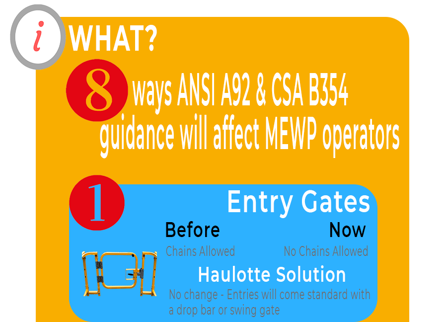 Entry gates. Chains are no longer allowed. Haulotte will provide entries with swing gates or drop bars standard