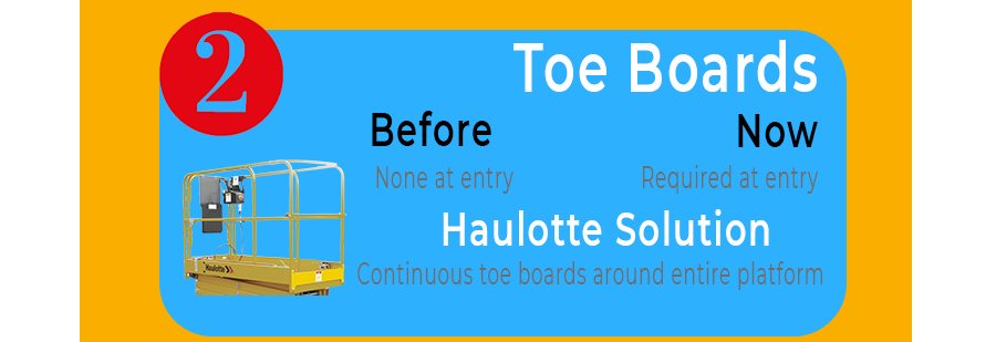 Toe boards are now required. A continuous toe board prevents objects from falling from the platform