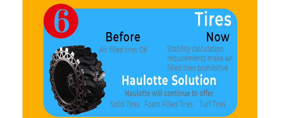 Tires. Stability requirements for tires mean air-filled tires will be challenging. Haulotte will continue to provide Solid Tires, Foam filled tires, Non-marking tires, turf tires